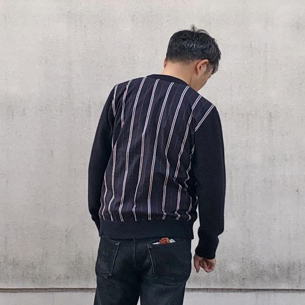フレッドペリー Men Stripe Panelled Crew Neck Knit 着用 (600x600).jpg