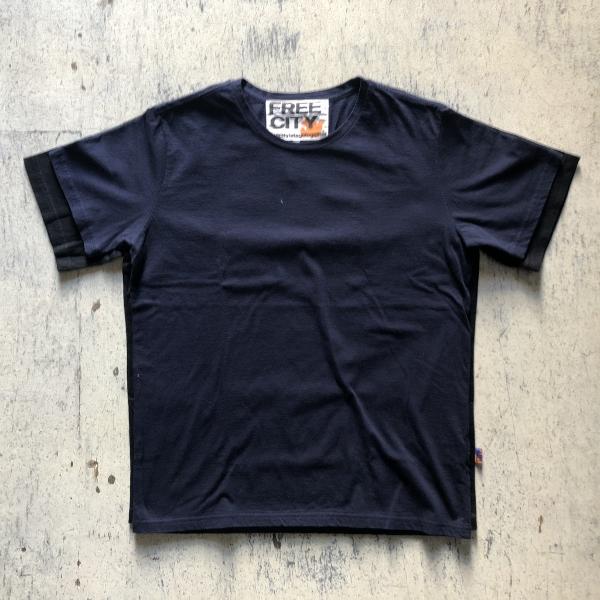 トライアングルパッチ ソフトコットンTシャツ ネイビー (600x600).jpg