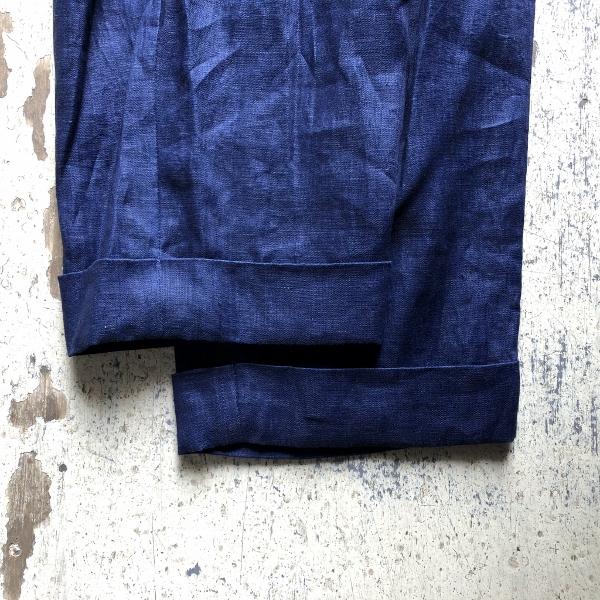 インディゴリネン ルードパンツ ブルーブルージャパン 裾 (600x600).jpg