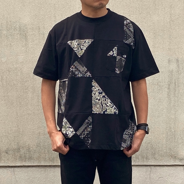 THE NORTH FACE PURPLE LABEL Patchwork HS Tee black 着用 (600x600).jpg