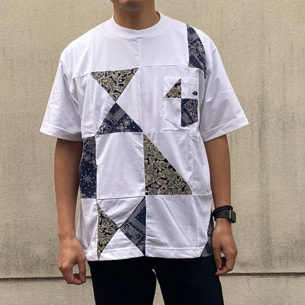 THE NORTH FACE PURPLE LABEL Patchwork HS Tee white 着用 (600x600).jpg