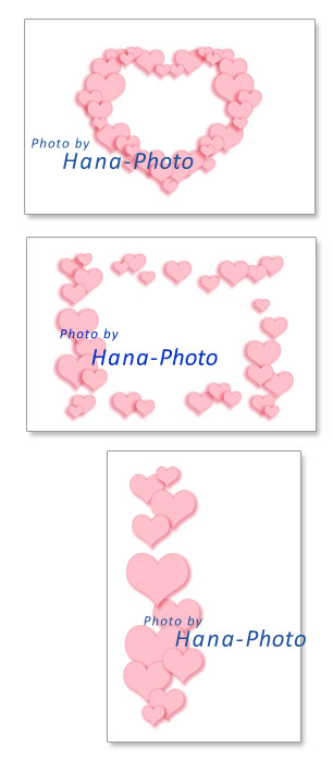 ハート イラスト グラフィック フレーム ライン ピンク キュート 可愛い ポストカード たくさん パステルカラー