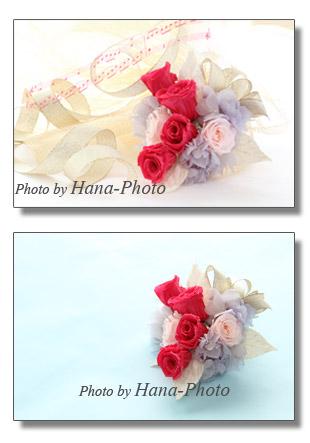 薔薇 ばら バラ アジサイ 紫陽花 プリザーブドフラワー 花 コサージュ 花束 ピンク ショッキングピンク リボン 金色 きれい