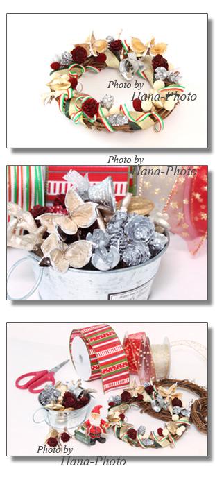 クリスマスリース リースを作る クリスマス はさみ フラワーアレンジメント 松ぼっくり リボン クリスマスカラー 楽しい 作る
