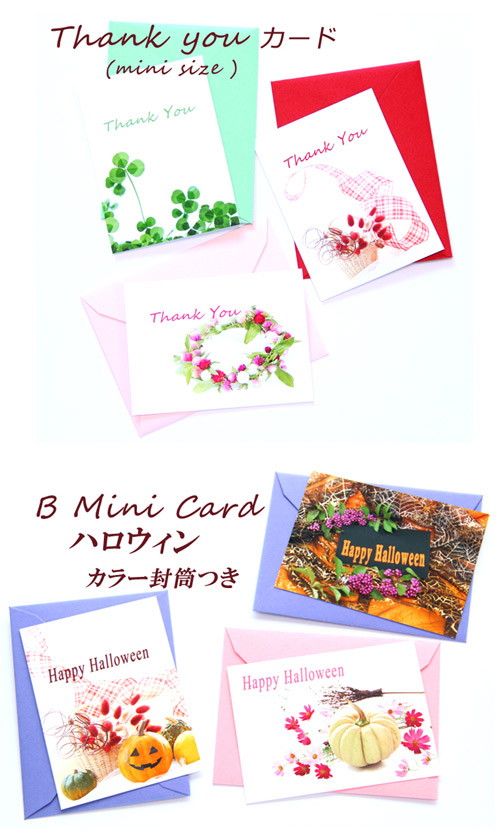 ミニカード ハロウィン メッセージカード ThankYouカード カード グリーティングカード キュート 可愛い