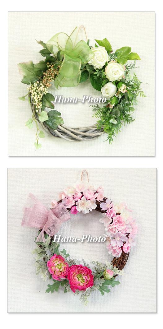 リース フラワーリース グリーンリース バラ グリーン 葉 桜 さくら サクラ ラナンキュラス ピンク ホットピンク キュート ハンドメイド