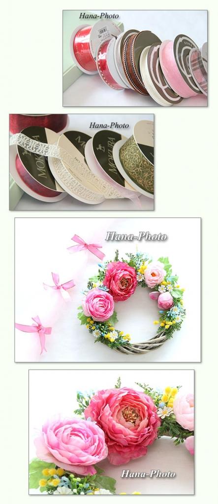 リボン リース リース材料 花 造花 アーティフィシャルフラワー ラナンキュラス ピンク 春リース 春 フラワーリース 可愛い キュート