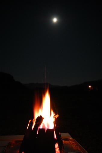 中秋の名月と焚き火