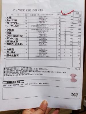 お品書きパック野菜181213