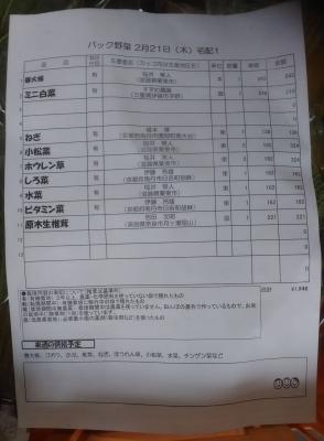 パック野菜ミニお品書き190222