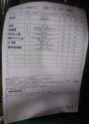パック野菜お品書き190222