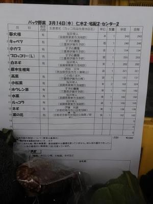パック野菜お品書き190314