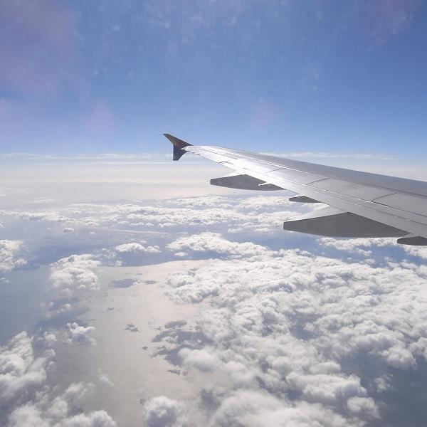 ソウルへ向かう飛行機から