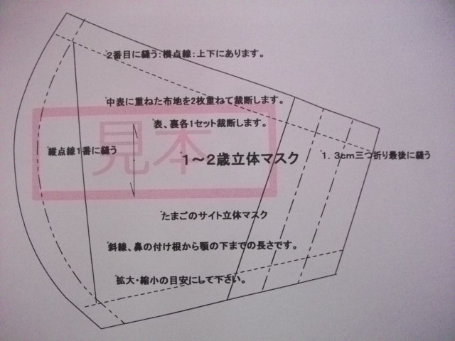 マスク 型紙 簡単 立体