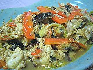 豆腐と鰻の炒め