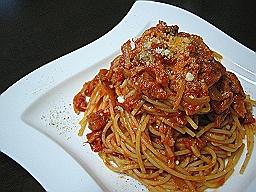 ポルチーニ茸とツナのトマトソーススパゲティ