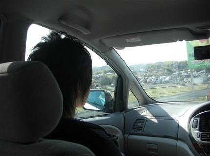 車の中の息子
