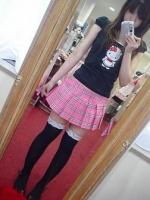 ピンクチェックプリーツスカート