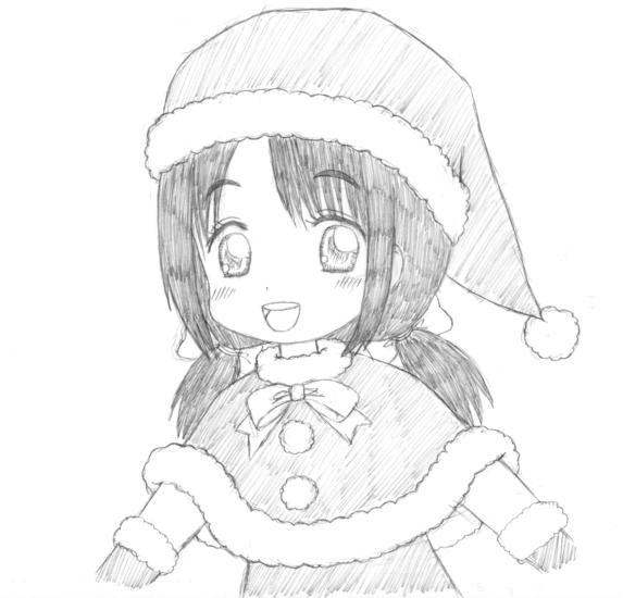落描き サンタ 女の子