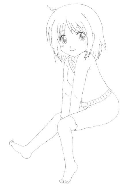 落描き 点描 少女