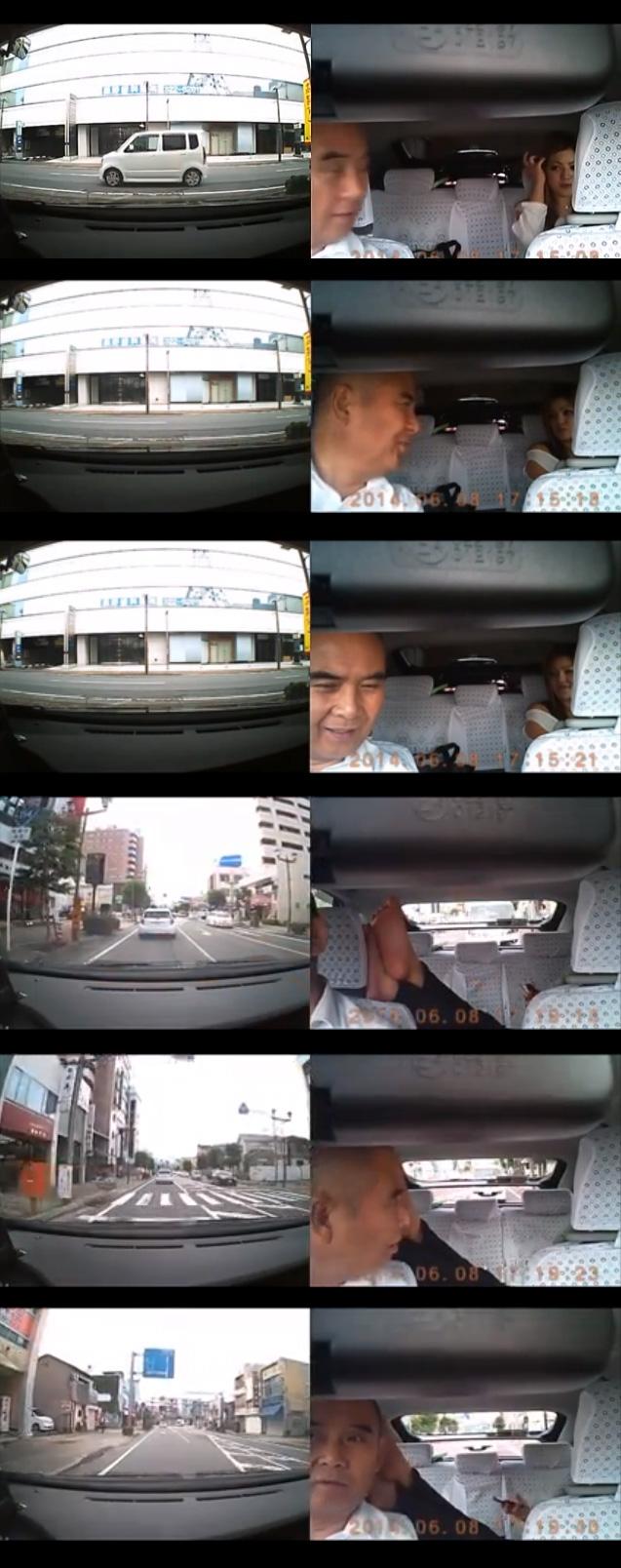 タクシーにギャルが乗車 足を運転席に乗せる
