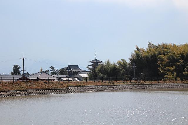 s-IMG_1727 1326 斑鳩神社前溜池の向こうには法隆寺の五重塔が見える.jpg