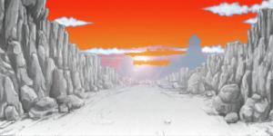 夕日が落ちる岩場の道 RTP改造戦闘背景素材