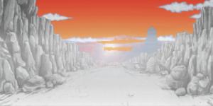 霧がかった夕日が落ちる岩場の道 RTP改造戦闘背景素材