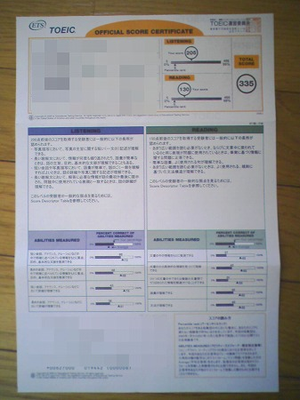 toeic official score certificate. Black Bedroom Furniture Sets. Home Design Ideas