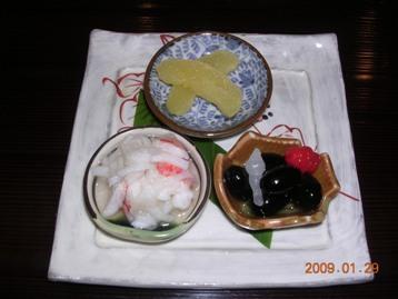 車海老土佐酢和え・黒豆煮・数の子床漬け
