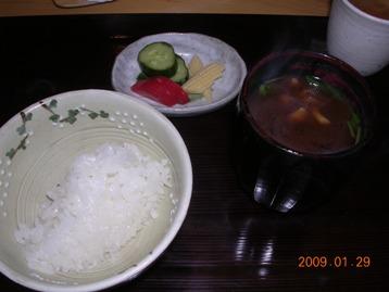 釜炊き白御飯・赤出し・香の物
