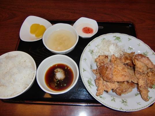 鶏のから揚げおろしポン酢ソース定食