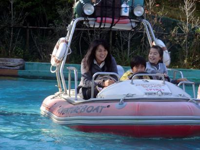 ボートにて。