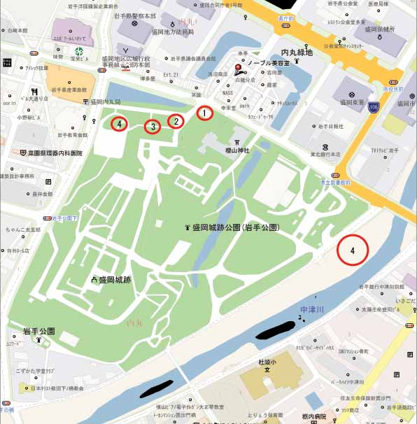 盛岡城跡公園周辺地図