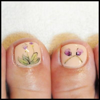 春の水彩画風お花ネイル。手描きや個性的ネイルアートも京都カルジェル専門ネイルサロンojasオージャスにお任せください