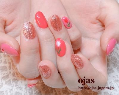 深爪矯正をなおして長い爪で可愛い春のネイルアート