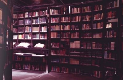 bookshelf at a exhibition