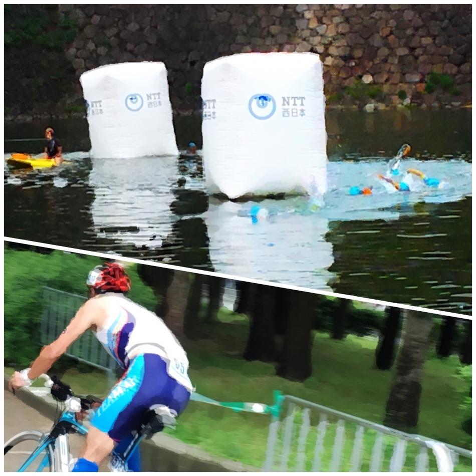 濠を泳ぎ、木立をバイクで駆け抜ける人たち|大阪城トライアスロン