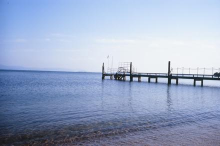 竹生島へ向かう舟の桟橋