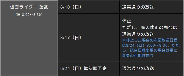 仮面ライダー・8月の放送予定