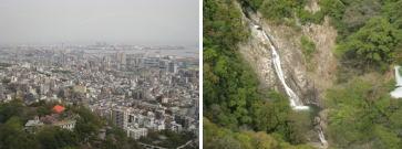 滝と神戸の町並み