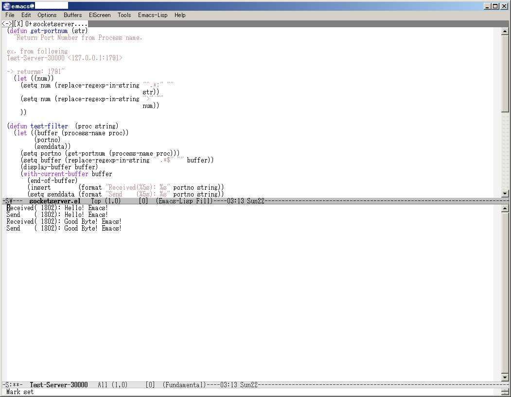 Simple Echo Server on GNU Emacs 23