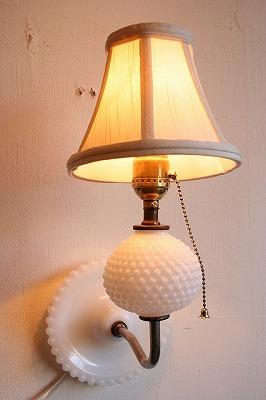 "Vintage Bracket Lamp""milk glass hobnail""!!"
