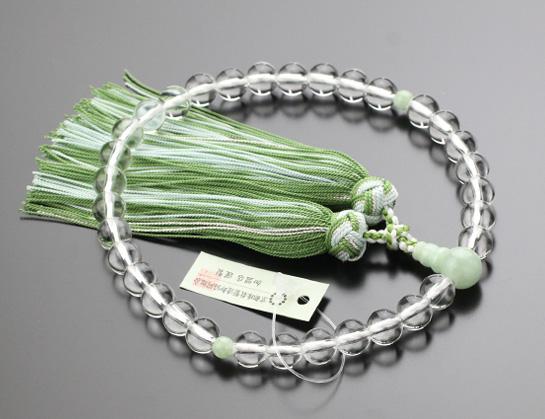 オーダー数珠,女性用,水晶,ビルマ翡翠