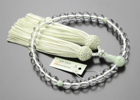 数珠,女性用,水晶,ビルマ翡翠