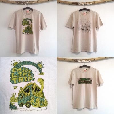 Renature HEMP Tシャツ「Enjoy LIfe Trip」「ジュンベとバックパック」「未来へのヒッチハイク」 自然回帰 Rhythm9 リズムナイン