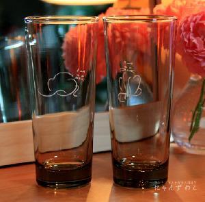 オリジナルデザインの猫グラス・猫柄コリンズグラス(スモークグラス・ペア)TB-4