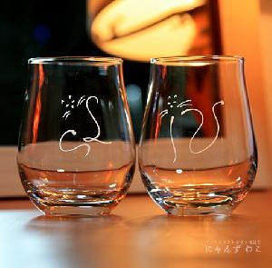 オリジナルデザインの猫グラス・猫柄ワインテイストグラス(ペア) WG-1