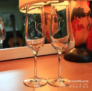 オリジナルデザインの猫グラス・猫柄スパークリングワイングラス・ハート(ペア)WG-15