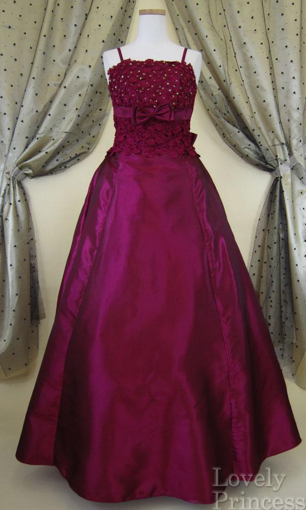 ステージドレス フラワースパンコールロングドレス ワイン